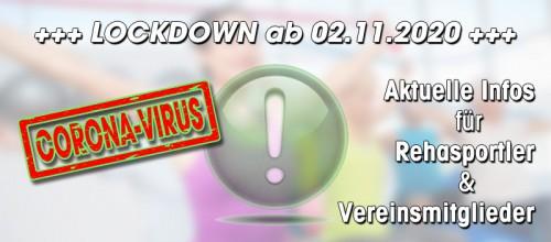 +++ LOCKDOWN AB 02.11.2020: Infos für Rehasportler & Vereinsmitglieder +++